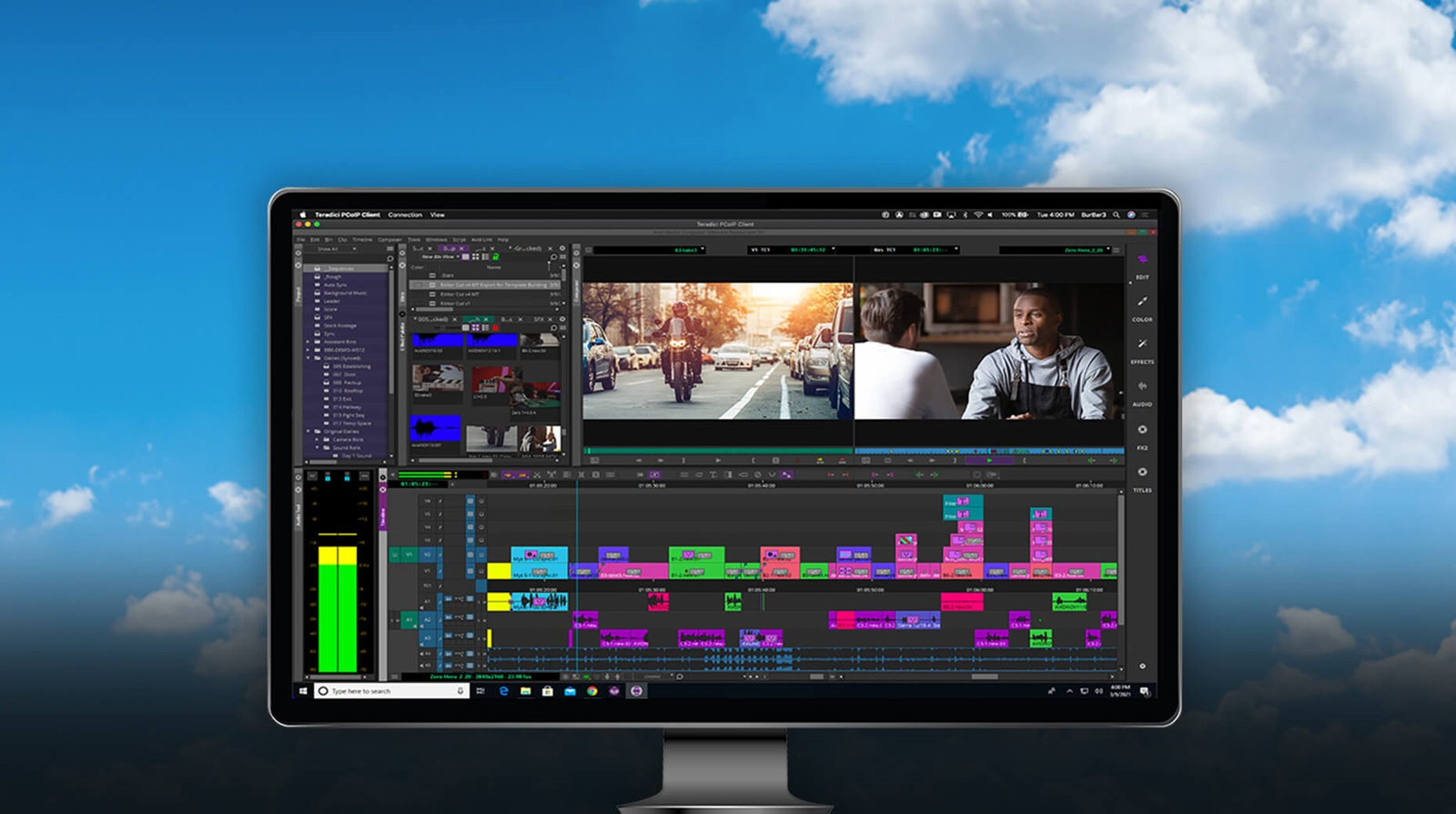 Media Composer UI superimposed over cloud background