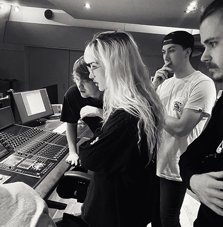 Tiffany Twisted in the control room at Abbey Road Studios