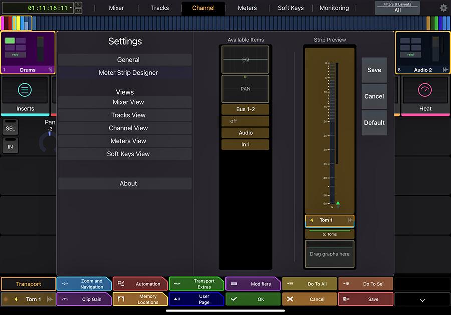 meter strip designer in Avid Control app