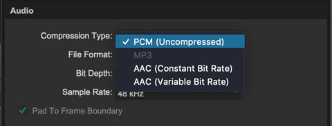 AAC export in Pro Tools