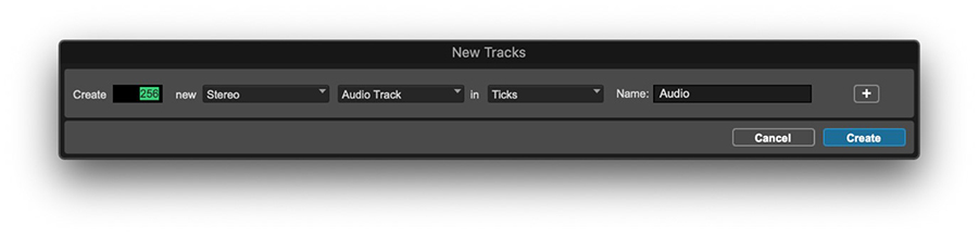 new tracks window in Pro Tools with 256 tracks