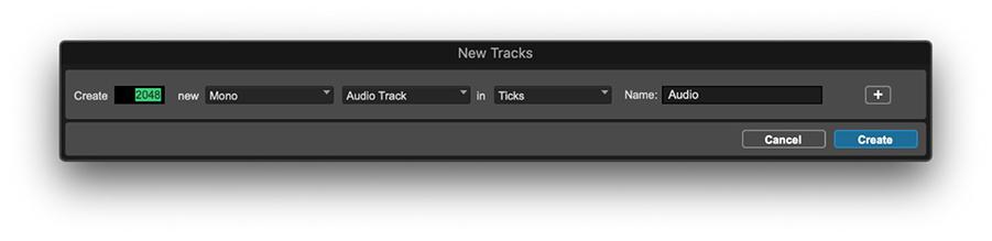 new tracks window in Pro Tools