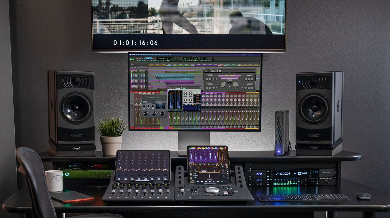 Pro Tools setup for audio post with mixing console