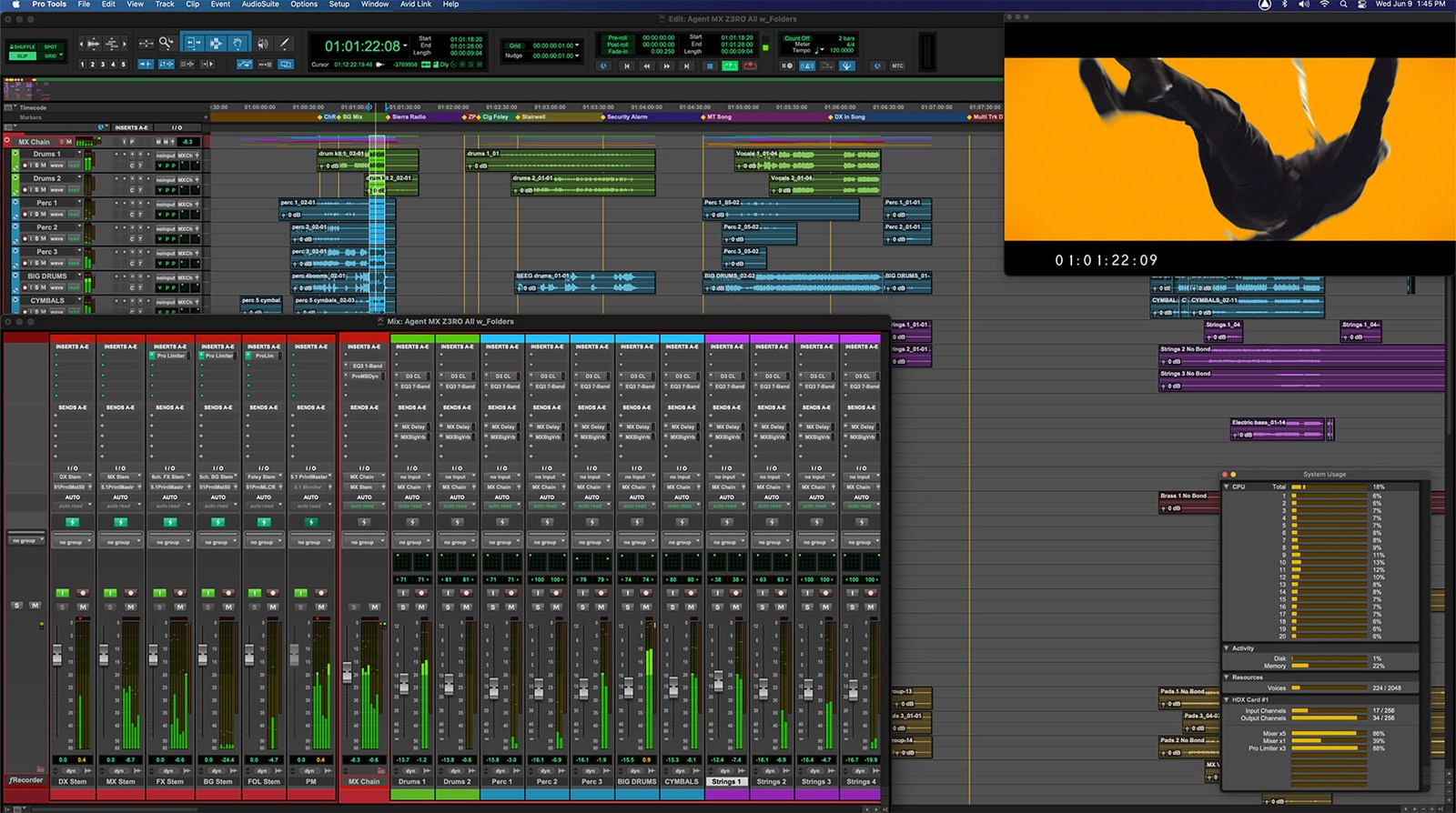 Pro Tools UI showing audio post workflow with HEVC
