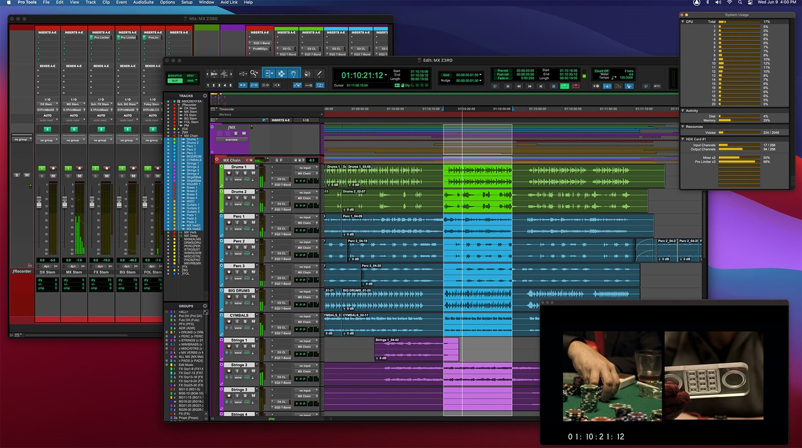 Pro Tools UI showing voices system usage