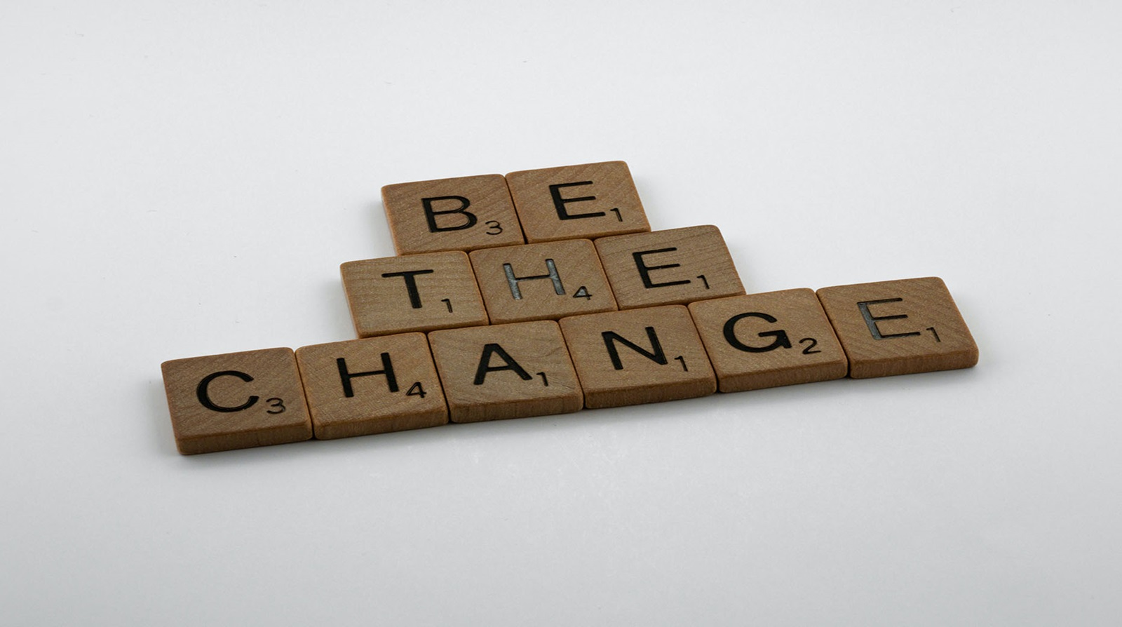 """Scrabble pieces which spell out """"Be the Change"""""""