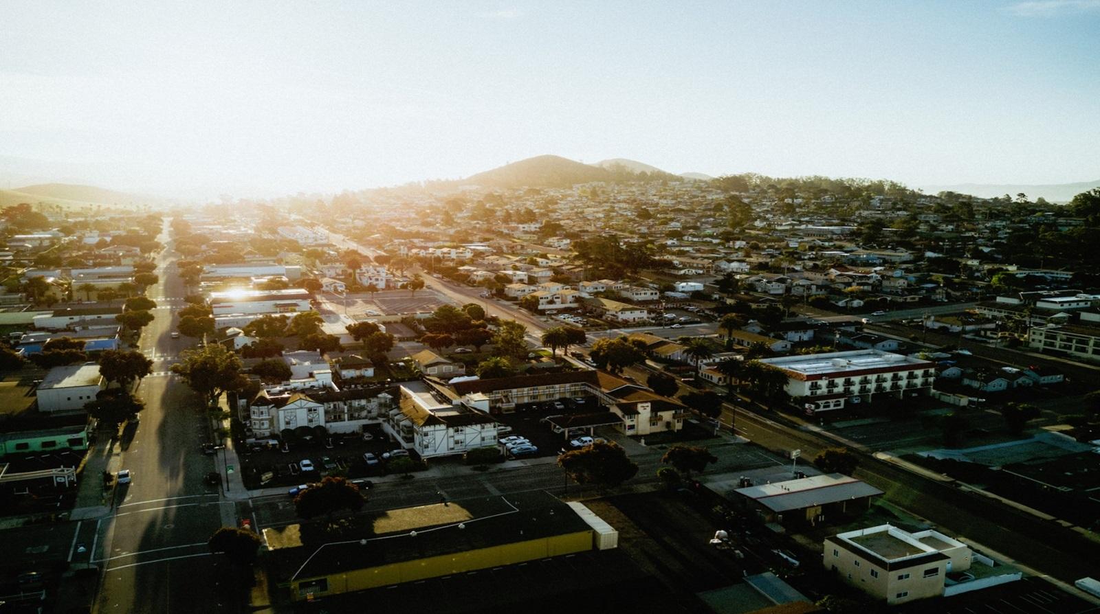 Sunrise over city grid