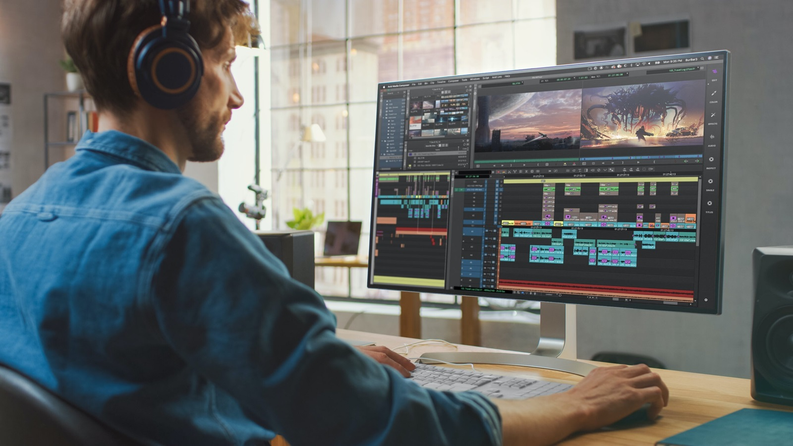 A remote video editor collaborates with his team while working on a project from home.