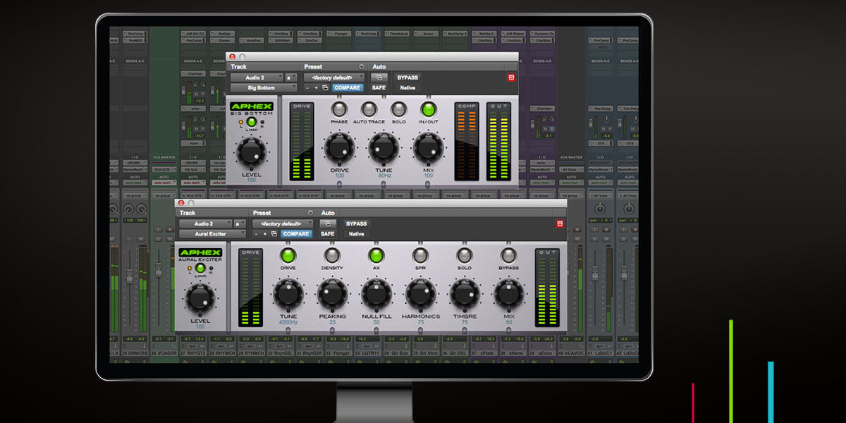 Aphex Aural Exciter and Big Bottom Pro audio plugins in monitor