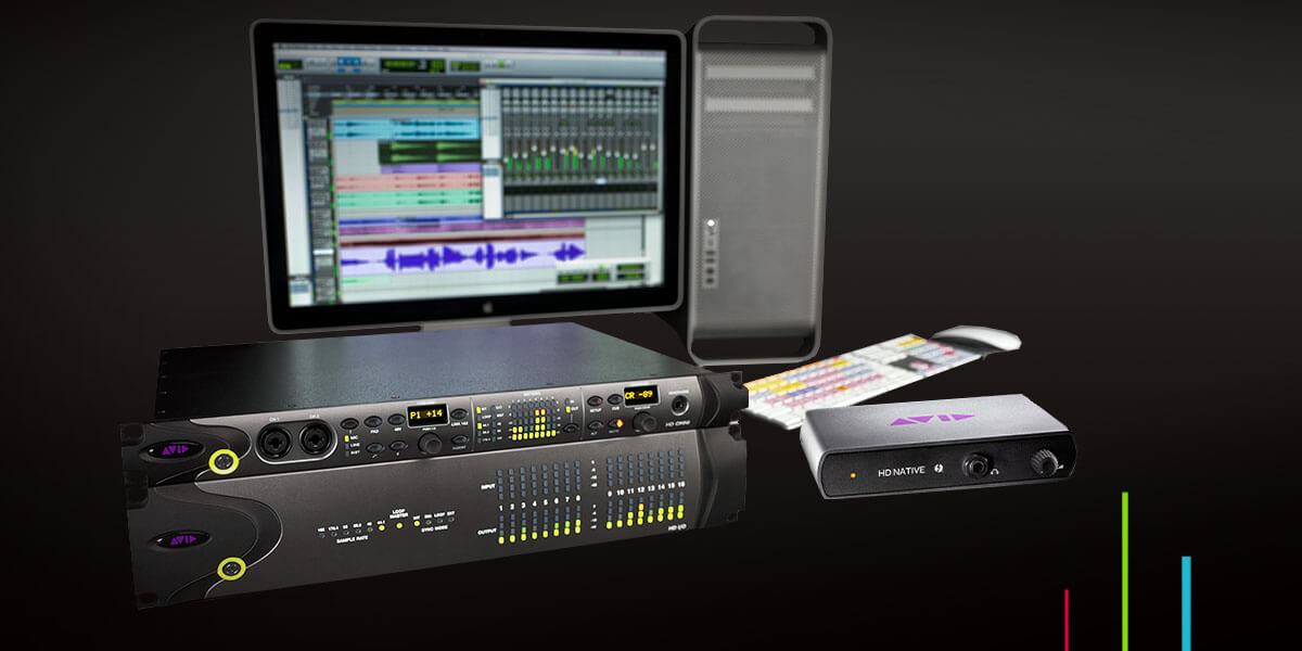 Pro Tools HD line of audio hardware and interfaces with computer in background
